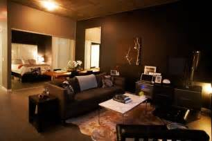 living room with a dark and sober look