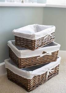 Set, Of, 3, Shallow, Antique, Brown, Wicker, Willow, Storage, Baskets, With, Pure, White, Lining