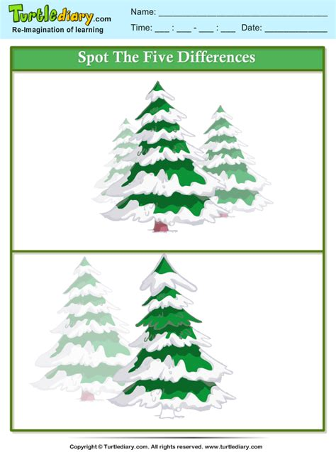 spot  difference tree  snow worksheet turtle diary
