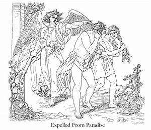 Adam and Eve Expelled from Paradise Coloring - Clip Art ...