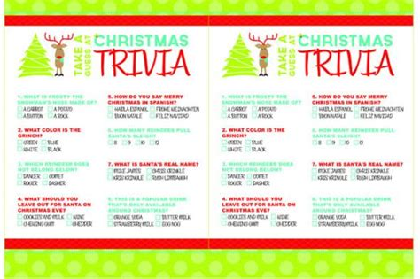 Printable Christmas Trivia Games