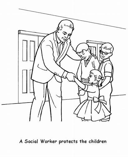 Coloring Labor Worker Social Printable Construction Preschool