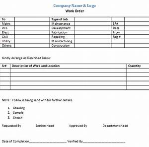 Internal work order form template free download for Internal work order template