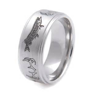 deer wedding rings antler musky fishing band by titanium buzz