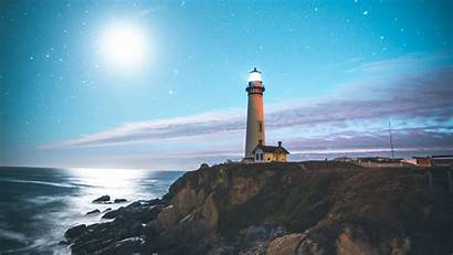 Lighthouse 4k Starry Sky Shore Coast Wallpapers