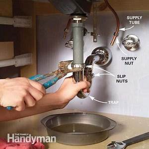 Install a vanity sink the family handyman for How to replace drain in bathroom sink