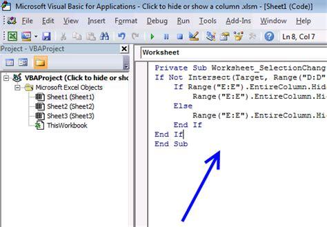 click  cell    column hidden  visible vba