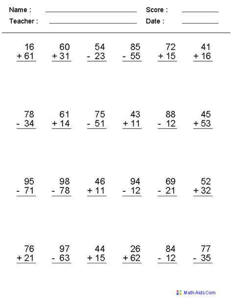 3rd grade math worksheet addition and subtraction math worksheets addition and subtraction search