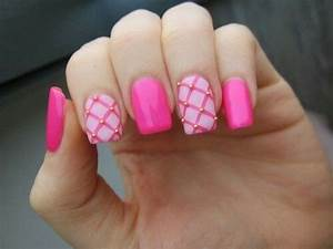 Hot pink gold accented nail design | Nail Art Gallery ...