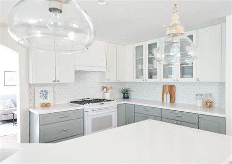 kitchen renovations using gray and white centsational remodel features white gray kitchen cabinets
