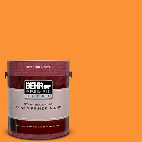 behr premium plus ultra 1 gal p240 7 joyful orange matte interior paint and primer in one