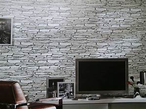 steintapeten in 3d optik grau beige braun wohnzimmer With markise balkon mit graue stein tapeten
