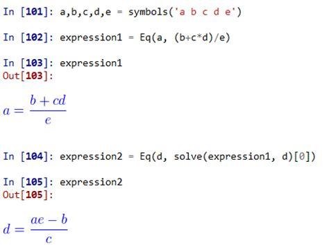 math mathematical equation manipulation in python
