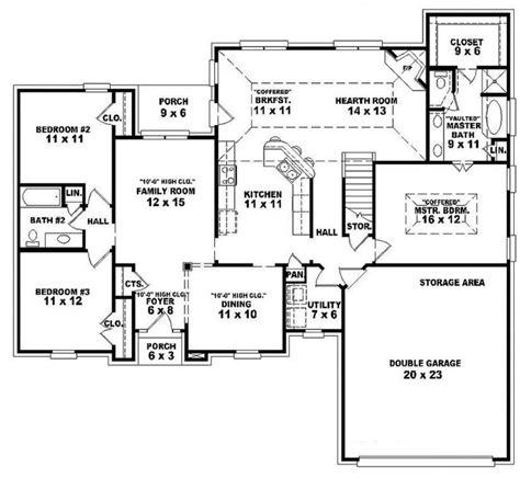 2 Bedroom Open Floor Plans by Single Story Open Floor Plans One Story 3 Bedroom 2