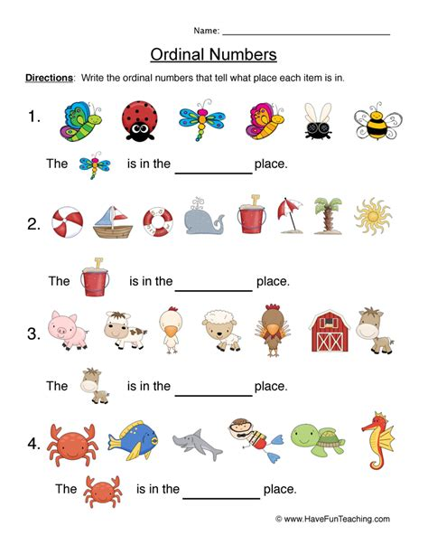 ordinal numbers worksheets have fun teaching