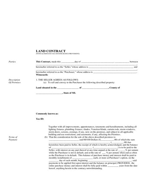 free land contract forms 38 sle free contract forms