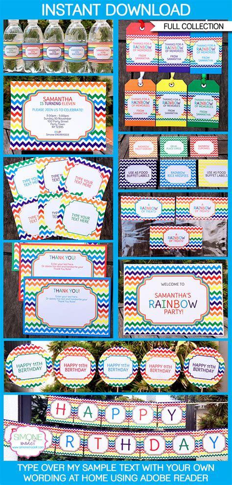 rainbow party printables invitations decorations
