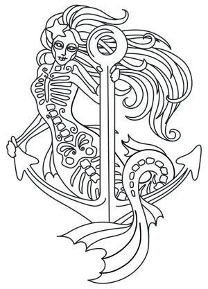 muerte mermaid paper embroidery coloring pages