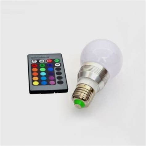 3w e27 rgb multi color led light bulb with remote