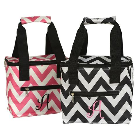 chevron monogram lunch totes   sale    store   daily deal