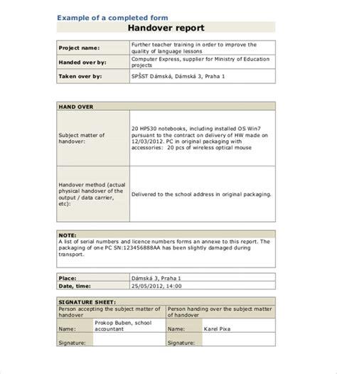 handover form template handover report template 15 free word pdf documents