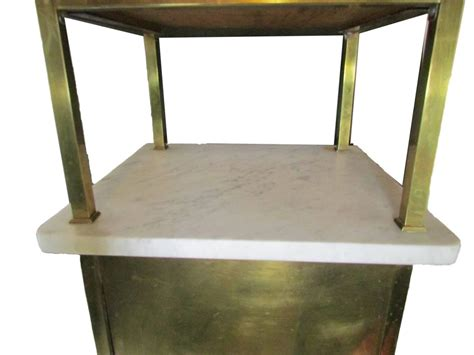marble and brass side table brass and marble side table with drawer and cabinet at 1stdibs