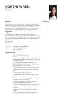 retail sales representative resume retail resume sles visualcv resume sles database