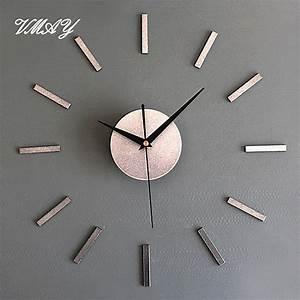 Wall clock modern design upscale metallic watch diy