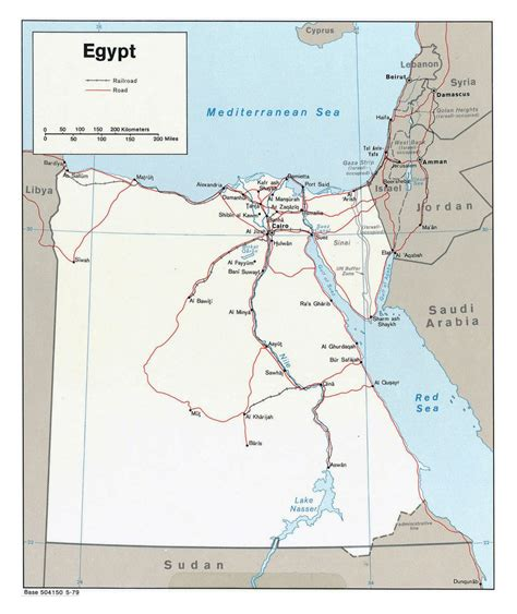 Large Political Map Of Egypt With Roads Railroads And