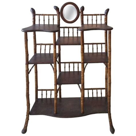 Bamboo Etagere Furniture by Vintage Bamboo And Wood Etagere At 1stdibs