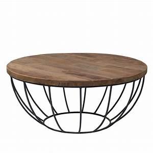 Table Basse Ronde Industrielle : table basse pied metal plateau teck massif recycl 80cm ~ Teatrodelosmanantiales.com Idées de Décoration