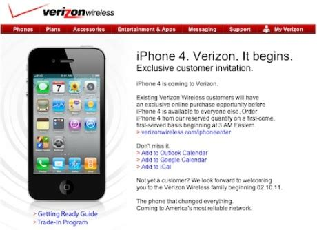 verizon net email iphone verizon iphone 4 pre orders to start at 3am est on
