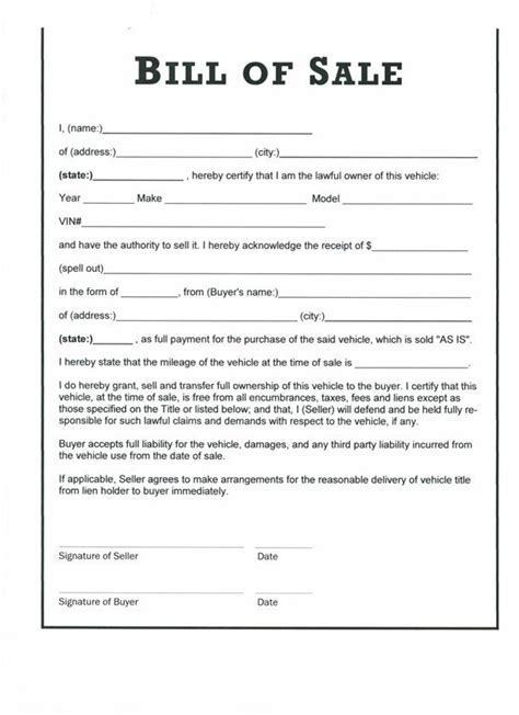 example of bill of sale printable sample bill of sale templates form forms and