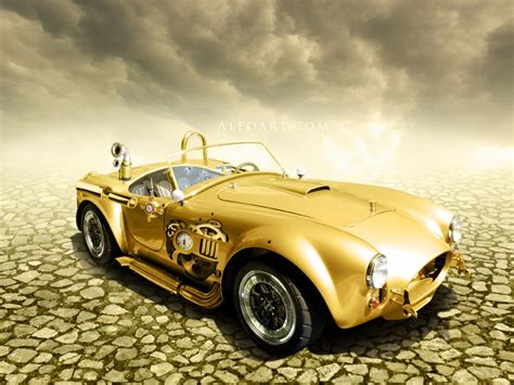 cool golden cars how to create a steunk golden car illustration in