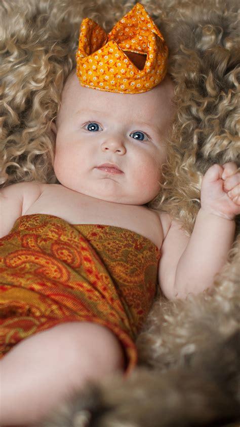 wallpaper cute baby boy fur basket crown  cute