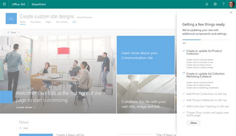 turn on sharepoint online site templates create and use custom sharepoint site designs in office 365