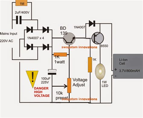 1 watt led emergency l circuit using li ion battery