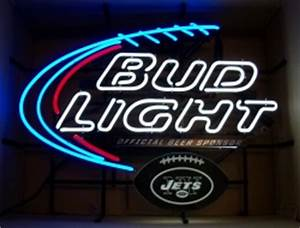 Bud Light NFL NY Jets Neon Beer Bar Sign