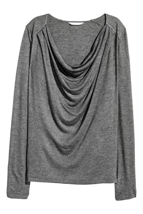 h m draped top draped jersey top gray melange sale h m us