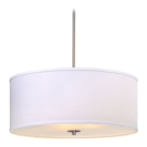 Large Modern Drum Pendant Light With White Shade Dcl