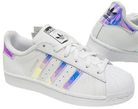 Adidas Superstar Iridescent Gs White Silver Juniors Womens