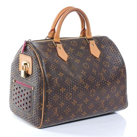 louis vuitton perforated speedy  purse bag fuchsia
