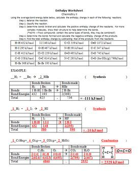 Molar Enthalpy Change In Chemical Reactions Practice Worksheet Tpt