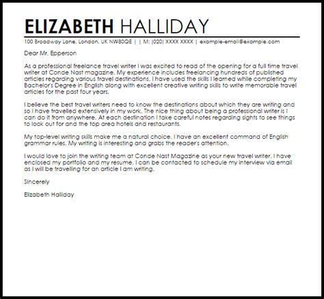 travel writer cover letter sample livecareer