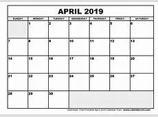 April 2019 Calendar & May 2019 Calendar