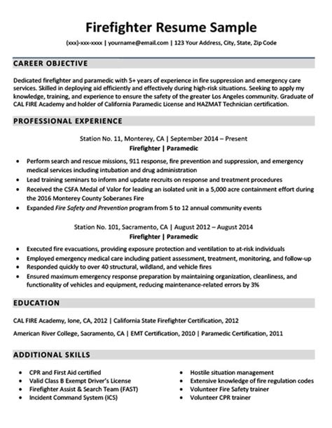Firefighter Resume Templates downloadable firefighter resume sle resume companion