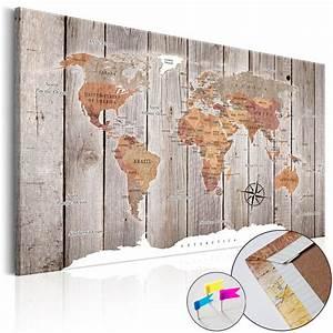 Weltkarte Bild Holz : bild weltkarte pinnwand holzfaserplatte wie kork wandbild ~ Lateststills.com Haus und Dekorationen