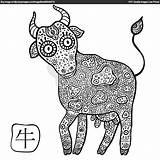 Zodiac Chinese Coloring Pages Sign Signs Colouring Printable Astrological Ox Animal Vector Animals Cow Adult Vectorstock Erwachsene Sternzeichen Horoscope Getcolorings sketch template