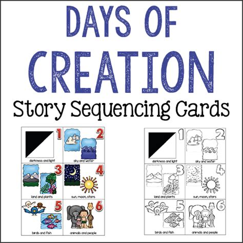 creation story cards bible activities prekinders