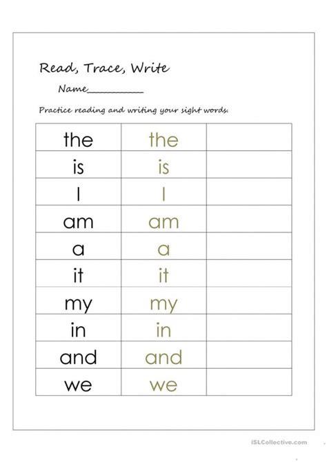 write  sight words  worksheets worksheets